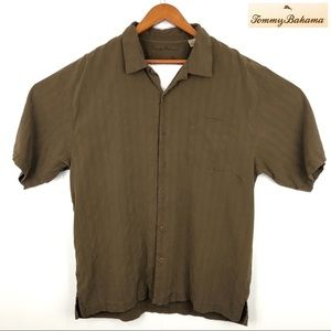 Silk brown short sleeve button down camp shirt